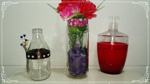 garrafas de vidro decoradas
